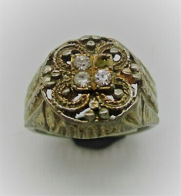 Wonderful Post Medieval British Silvered Ring With Stones
