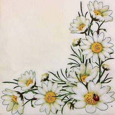 3 Paper Napkins for Decoupage / Parties / Weddings - Daisies