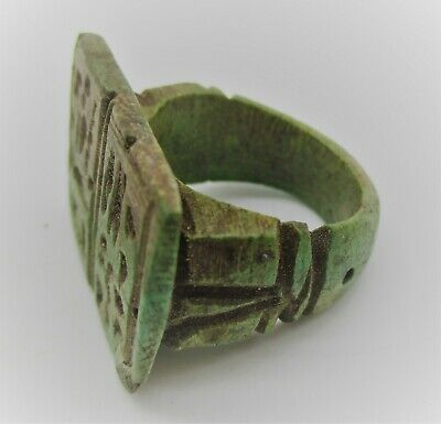 Circa 500 Bce Ancient Egyptian Glazed Faience Ring With Heiroglyphs On Bezel