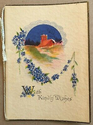 Vintage Greeting Card With Kindly Wishes Birthday Greetings