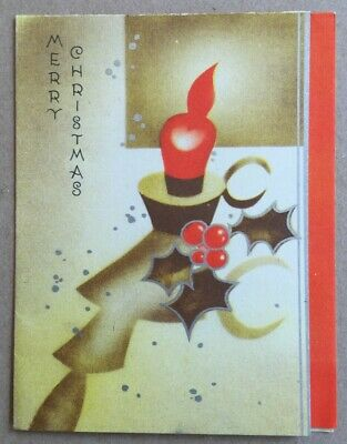 Vintage Greeting Card Merry Christmas Candle