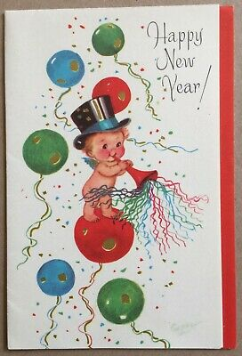 Vintage Greeting Card Rust Craft Felicity Series Happy New Year