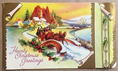 Vintage Greeting Card 1956 Fifth Avenue Hearty Christmas Greetings