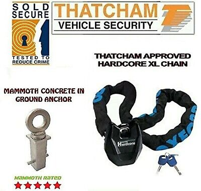 Motorcycle Oxford Security Hardcore XL Chain Lock 1.5m & Concrete Ground Anchor