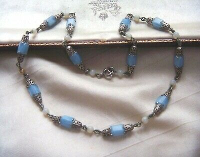 Vintage Art Deco Blue Satin Geometric Glass Beads Filigree Wired Necklace