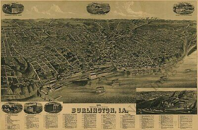 Burlington Iowa c1889 map 36x24