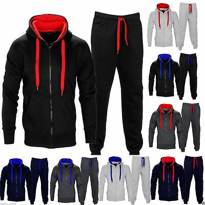 Boys Kids Girls Tracksuit Fleece Hoodie Top Bottoms Full Set Jogging Joggers Gym
