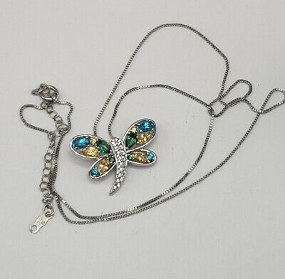 Designer Sterling Silver And Multiple Stones Butterfly Pendant Necklace
