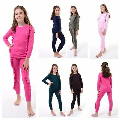 Kids Childrens Ruffle Frill Detail Loungewear 2 Piece Tracksuit Jogger Top 2-13