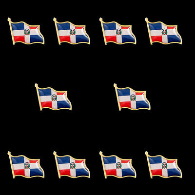 10PCS Dominican Country National Flag Badge Brooch Flag Lapel Pin Collectible