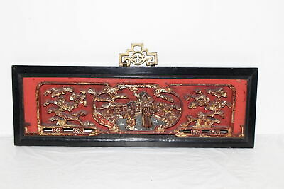 """Antique/Vintage Chinese Hand Carved Lacquered 19.25"""" Panel Black/Red/Gilt"""