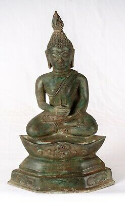 Antique Thai Style Sukhothai Bronze Charity & Compassion Buddha Statue -27cm/11""