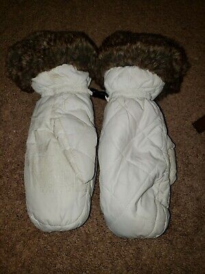 Womens Eddie Bauer White Mittens w Fur Trim