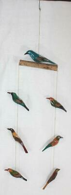 Folk Art Wood Hand Carved Hand Painted Bird Mobile Bright Colors Rustic Unsigned