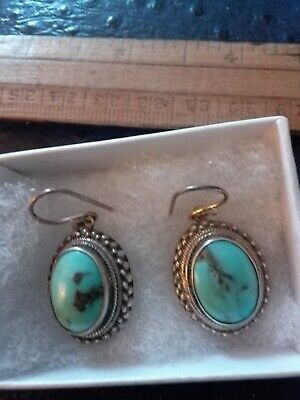 VERY LARGE Vintage, Solid Silver Turquoise Drop Earrings.  Marked.925