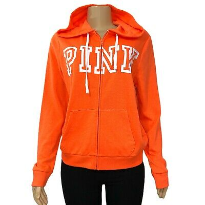 VICTORIAS SECRET PINK Logo Sweatshirt Jacket Hoodie Full Zip - Orange - Medium