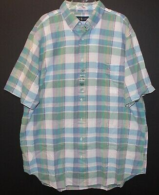 Polo Ralph Lauren Big and Tall Mens Green Plaid Indian Madras S/S Shirt NWT 2XLT