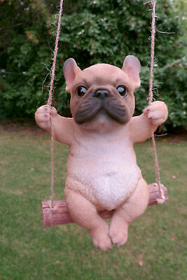 French Bulldog on Swing Dog Figurine Statue Resin Ornament  New Puppy 5.31 in.