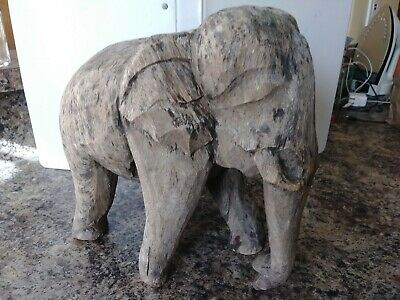 "Antique Folk Art Solid Wood Elephant Hand Carved 10.5""X10.5"" Beautifully Aged"