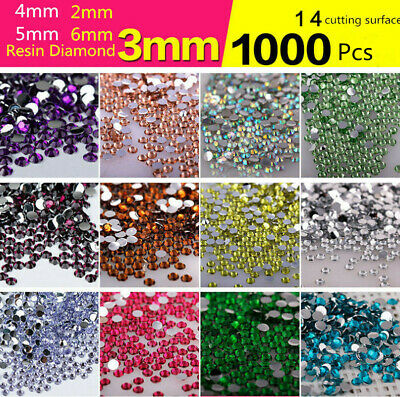 2-6mm 1000pcs Resin Rhinestones Crystal Silver Flat Back Acrylic Diamond Gems