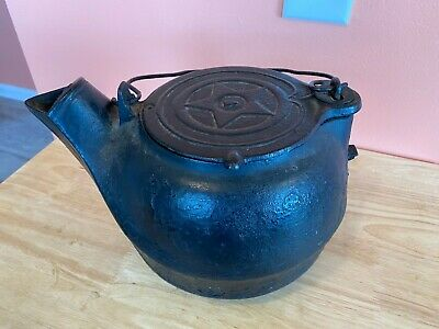 🍊Antique Chattanooga Star #7 Black Cast Iron Teapot Tea Kettle w/ Swivel Lid