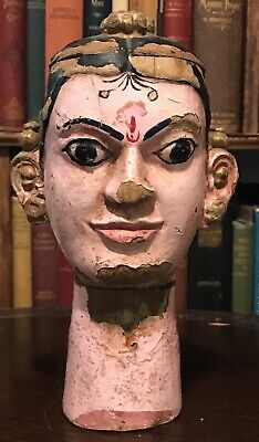 19th CENTURY ANTIQUE INDIAN INDIA HAND-CARVED WOOD PUPPET or MARIONETTE HEAD