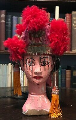 19th CENTURY ANTIQUE ASIAN CHINESE HAND-CARVED WOOD PUPPET HEAD w/ REAL HAIR