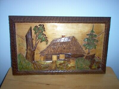 Estate Wood Carved Wall Art 3 D Picture Scenic House/Landscape