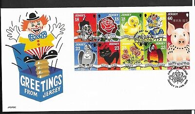 GB Jersey 1995 FDC Greetings fine used stamps on cover