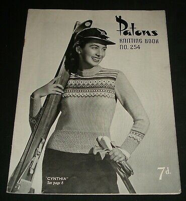 VINTAGE 1940s PATONS KNITTING BOOK # 254  WOMENS TOPS