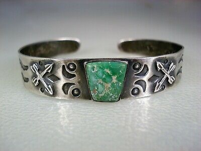 OLD Fred Harvey era STAMPED STERLING SILVER & TURQUOISE BRACELET w/ Arrows