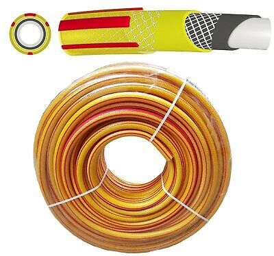 50m Heavy Duty Professional Reinforced Garden Hose Pipe 6 Layers Non Kink Yellow