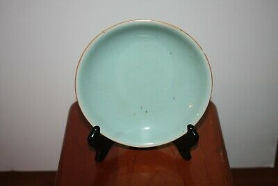 Chinese Ming Dynasty Ancient Green Glazed Ceramic Dish.