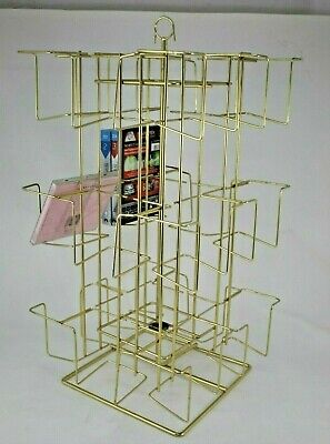 VTG Wire Metal Revolving DVDs Books Cards CDs Store Display Rack Countertop