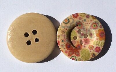 8 Multicoloured Floral, Butterfly & Natural Wood 25mm Wooden Buttons. Aus Seller