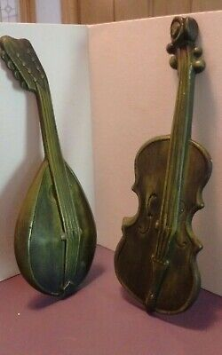 ROYAL Metal VIOLIN & MANDOLIN Wall Hanging Musical Instruments 2 Plaques Decor
