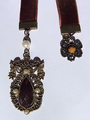 Stunning Handmade Brown Velvet Bookmark with Antique Brass Coloured Charms