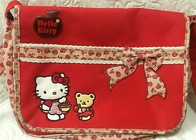 "Vintage Sanrio Hello Kitty Tiny Chum Cherry Apple 15"" Backpack Purse Bag Japan"