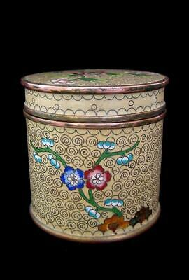 Antique 1900s Chinese Cloisonne Round Cigarette Box Tea Canister Marked China