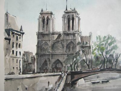 Vintage 1940's- '50's Herbelot Lithograph of Notre Dame Cathedral and the Seine