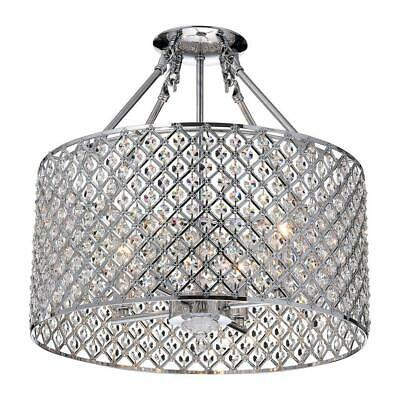 Marya 4-Light Chrome Semi-Flush Mount Light With Crystal Beaded Drum