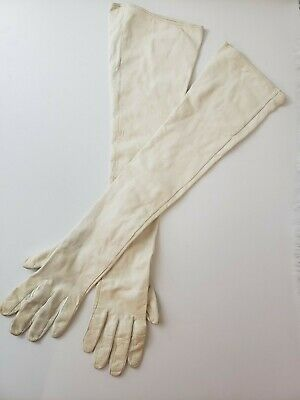 Vintage Long white leather ladies gloves