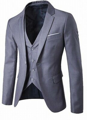MAGE MALE Mens Suit Gray 3XL Four Button Vest One-Button Three Pocket $100 012