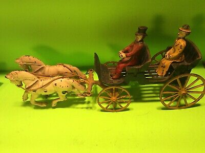 Antique Cast Iron Toy Horse Team and Carriage with Driver & Lady Passenger