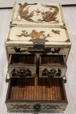 ANTIQUE CHINESE MAKE-UP VANITY FOLD-UP  MIRROR JEWELRY BOX with 3 DRAWERS