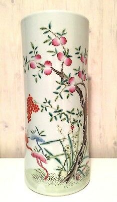 Vintage Chinese Hand Painted Famille Rose Porcelain Vase Drilled