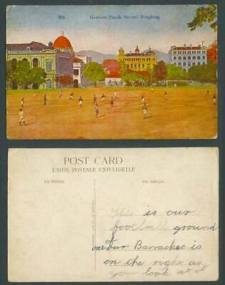 Hong Kong China Old Colour Postcard Garrison Parade Ground FOOTBALL Game Players