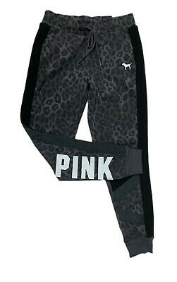 Victorias Secret PINK Womens Classic Jogger Sweatpants XSmall Grey Animal Print