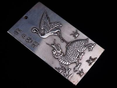 Tibetan Silver Paperweight Crane On Dragon Turtle Ying-Yang Bagua /T 02