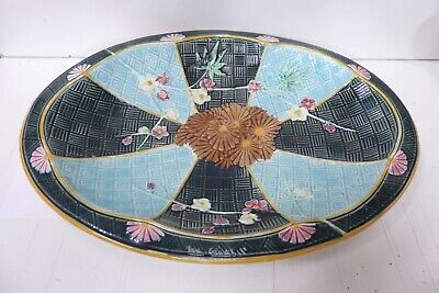 Antique Wedgwood Majolica Floral Berry Flower Basket Pottery Ceramic Bowl Plate